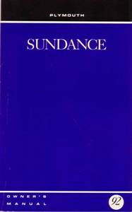 1992 Plymouth Sundance Owners Manual User Guide Reference