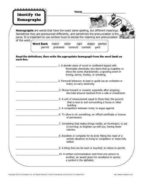 homographs worksheets second graders homographs best