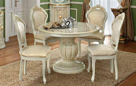Esstisch Rund Ausziehbar Italienische Stilmöbel Klassik Beige Hochglanz