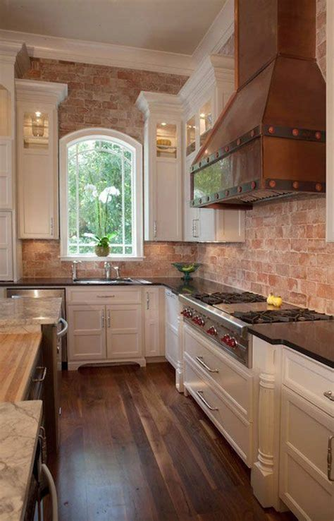 brick backsplash in kitchen kitchen with brick walls home countertops