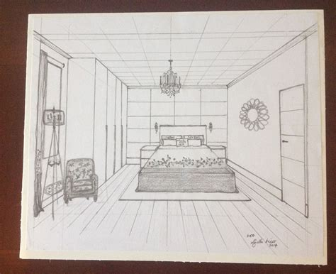 point perspective sketch  bedroom  lynette nisbet