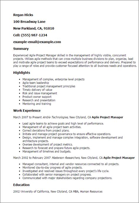 Agile Resume Experience by Professional Agile Project Manager Templates To Showcase Your Talent Myperfectresume