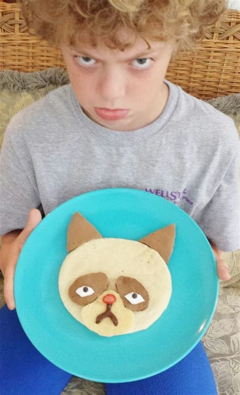 Grumpy Cat Pancakes For Breakfast  Kitchen Fun With My 3 Sons