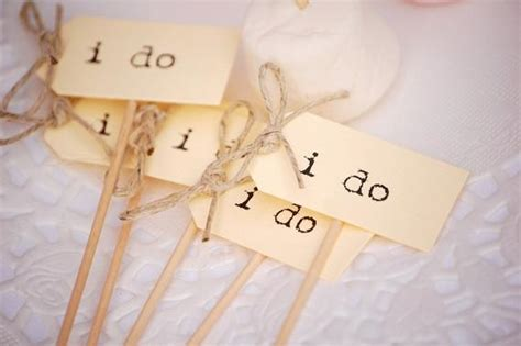 I Do Wedding Cupcake Toppers Ivory With Twine Bows Set Of