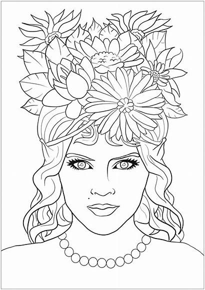 Coloring Woman Pages Adults Hair Flowers Fantasy