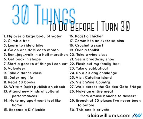my 30 before 30 list alaiawilliams com