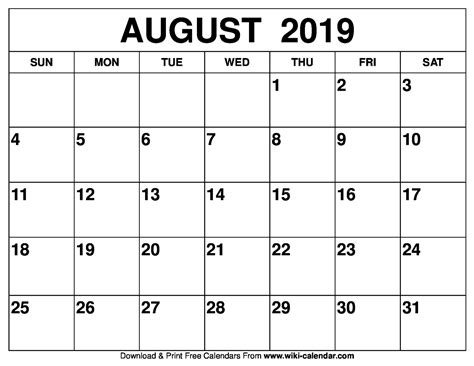 printable calendar august  isacl