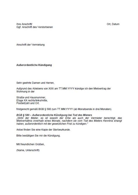 kündigung schreiben wohnung k 252 ndigung im todesfall was muss gek 252 ndigt werden