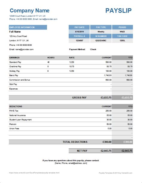 payslip template  excel  google sheets