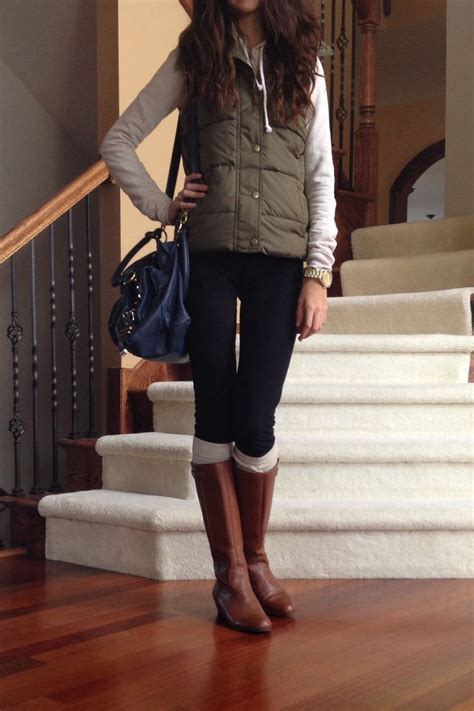 Olive Green Vest With Riding Boots Fall Outfit 2013