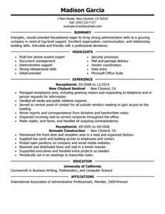 receptionist description for resume best receptionist resume exle livecareer
