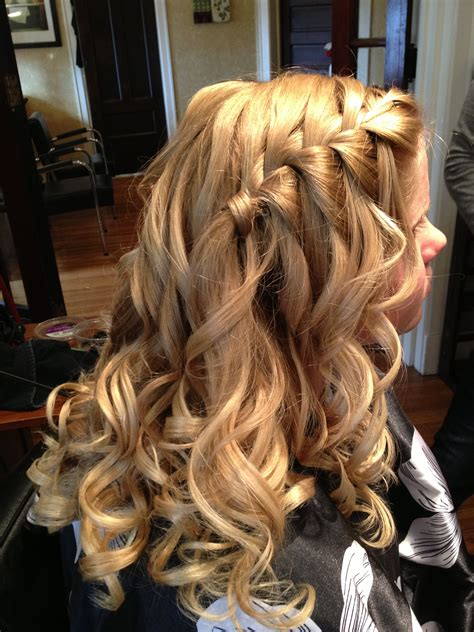 Hairstyles With Braids And Curls by Homecoming Hair Waterfall Braid With Curls Hair In 2019