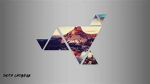 Sunset, Mountains, Geometry, Triangle, Abstract, Wallpapers