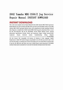2002 Yamaha Mbk Cs50z Jog Service Repair Manual Instant