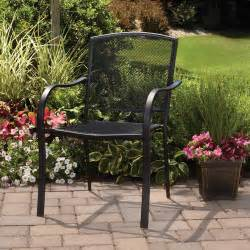 mainstays wrought iron full back stackable chair patio