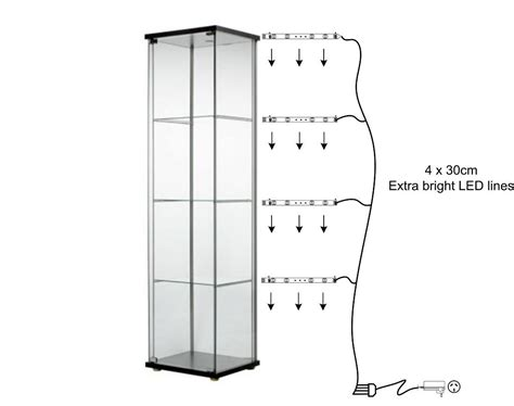 Detolf Glass Door Cabinet Malaysia by Glass Display Cabinet Lights Warm Whte Ebay