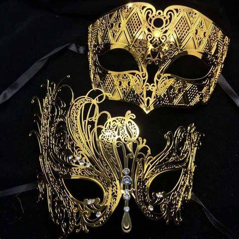 party masks black silver white gold diamond metal couple