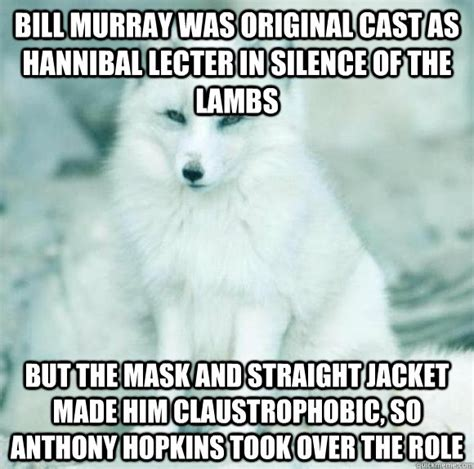 Silence Of The Lambs Meme - bill murray was original cast as hannibal lecter in silence of the lambs but the mask and