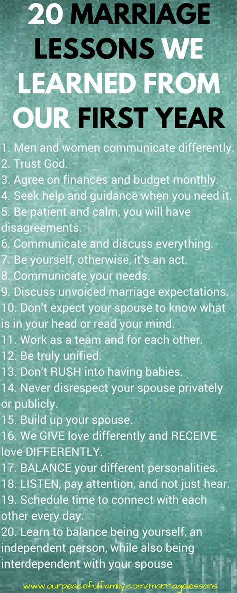 Bookmark these for the hard days as well as the good days. 20 Marriage Lessons We Learned From Our First Year of Marriage | Marriage relationship, Marriage ...