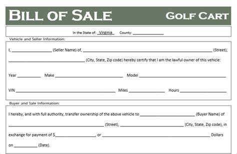virginia golf cart bill  sale template  road