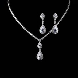 wedding ring necklace teardrop bridal necklace and earrings set gabi cubic zirconia wedding jewelry