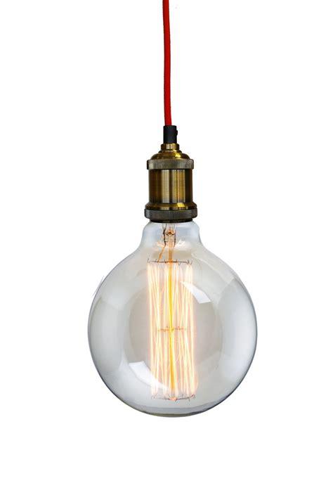 glühbirne mit kabel retro vintage messing h 228 ngele mit roten kabel und nostalgie 40w gl 252 hbirne ebay