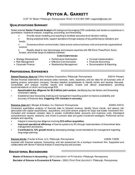 Financial Analyst Skills Resume by 11 Best Best Financial Analyst Resume Templates Sles