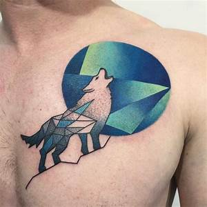 Geometric Howling Wolf Tattoo on Chest | Best Tattoo Ideas ...