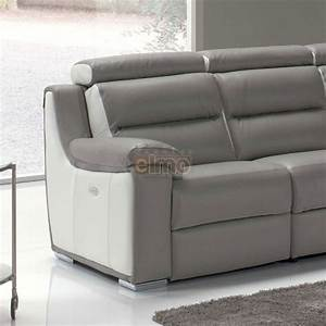 Canape contemporain relaxation cuir bicolore tetiere reglable for Canape cuir tetiere