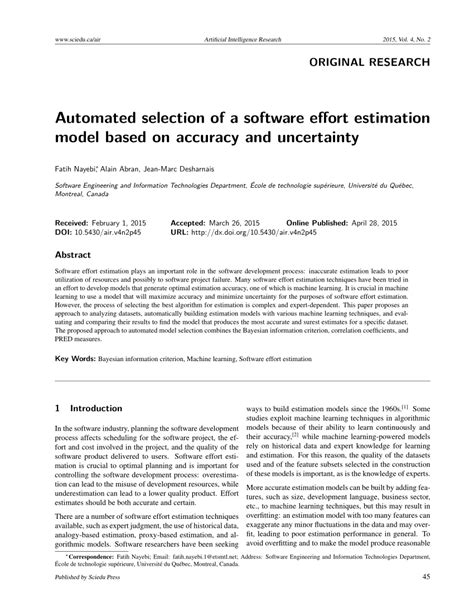 (PDF) Automated selection of a software effort estimation