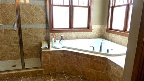 large  bathroom  corner tub  shower  preparing