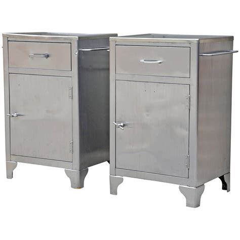 Metal Nightstand by Pair Of Polished Steel Industrial Metal Nightstands For