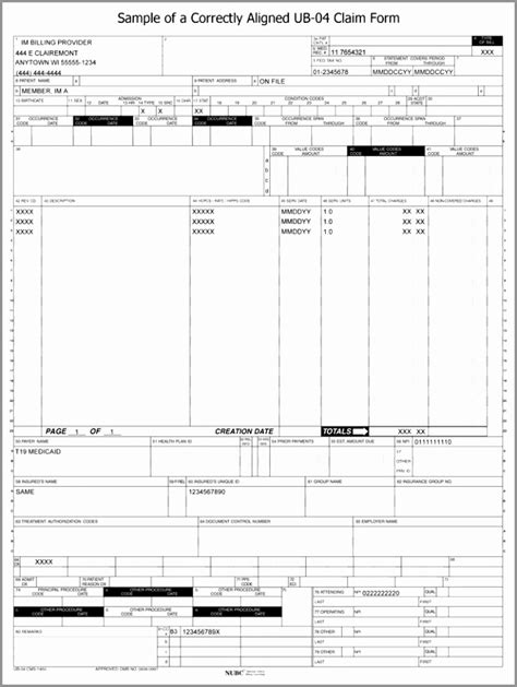 free ub 04 form download 10 ub 04 form template templatesz234