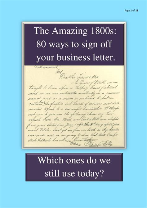 ways to sign a letter the amazing 1800s 80 ways to sign your business letter 50314