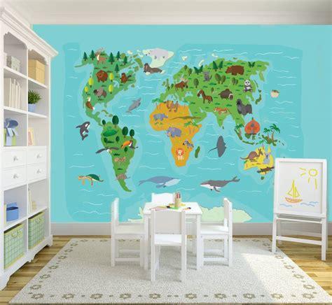 fotobehang wereldkaart kinderkamer walldesigncom