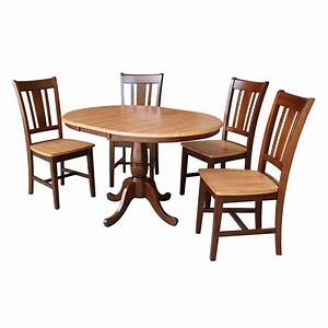 36, U0026quot, Round, Dining, Table, With, 12, U0026quot, Leaf, And, 4, San, Remo, Chairs, Espresso