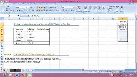 calculate total working days networkdays function