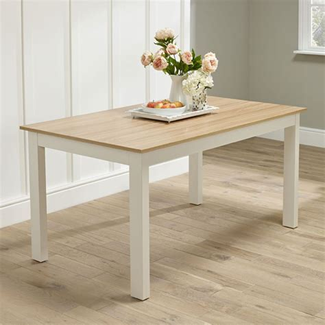 white cream oak country dining kitchen table