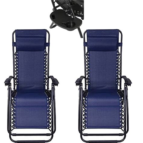 2pc blue zero gravity lounge chairs recliner outdoor