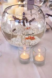 Centre De Table Mariage : centre de table avec un bocal et un poisson rouge pour un ~ Melissatoandfro.com Idées de Décoration