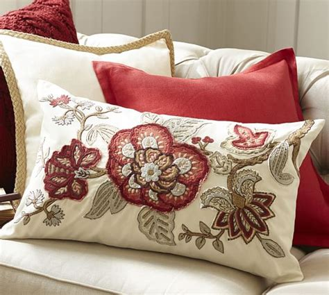 discontinued pottery barn pillow covers allegra palore embroidered lumbar pillow cover