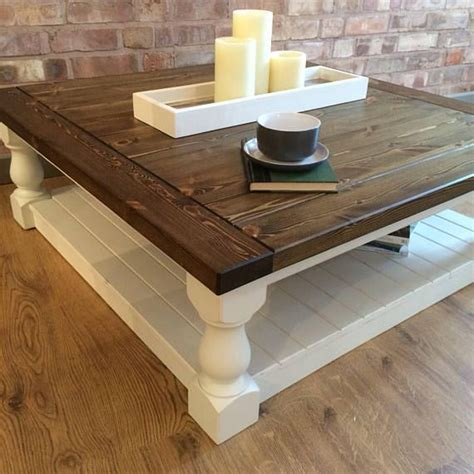 Wooden coffee tables are usually so durable that you could bequeath it to your children and in the long run be an antique piece. Large Square Handmade Solid Pine Farmhouse Coffee Table in 2020 | Pine coffee table, Painted ...