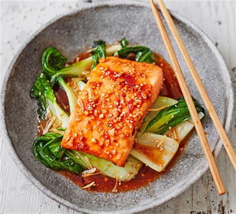 teriyaki salmon  sesame pak choi recipe bbc good food