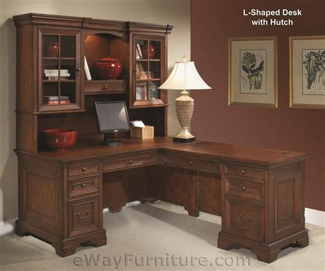 warm cherry l shaped computer desk with return and hutch