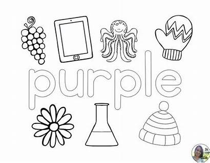 Colors Coloring Pages Pink Purple Learning Preschool