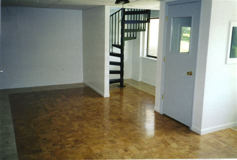 Remodel Basement House Design With Brown Epoxy Floor Paint