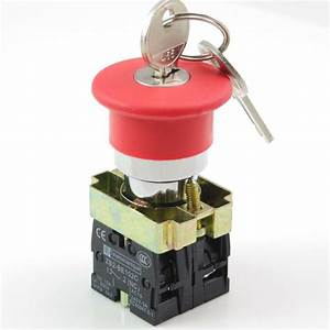 1 Red 22mm 1no 1nc Turn To Release Key Mushroom Emergency