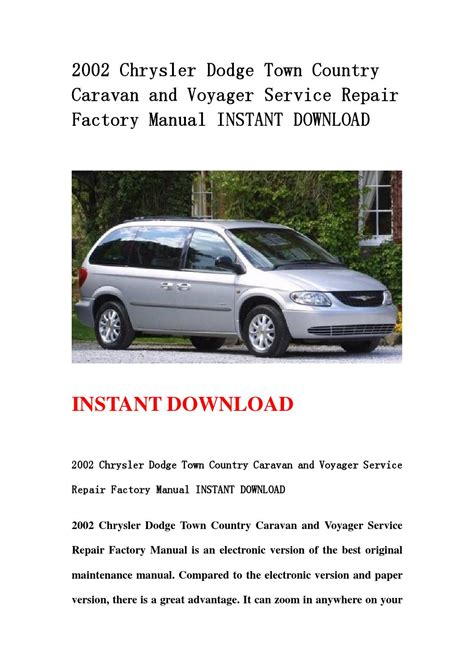 car owners manuals free downloads 2002 chrysler town country engine control 2002 chrysler dodge town country caravan and voyager service repair factory manual instant