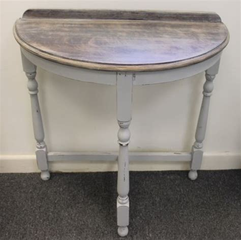 shabby chic half moon table shabby chic half moon chalk painted grey wooden console table chic grey and wooden console table