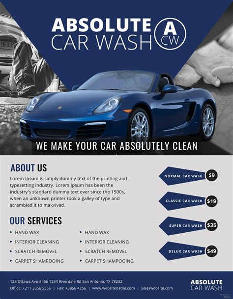 Design it (or have someone design it). Free Simple Car Wash Flyer Template in Adobe Photoshop ...